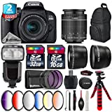 Canon EOS Rebel 800D/T7i Camera + 18-55mm IS STM Lens + Pro Flash + 6PC Graduated Color Filter Set + 2yr Extended Warranty + 32GB Class 10 Memory Card + Backpack + 16GB - International Version