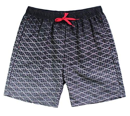 KXP Mens Plaid Ombre Color Elastic Waist Drawstring Beach Shorts Black (Ombre Plaid Short)