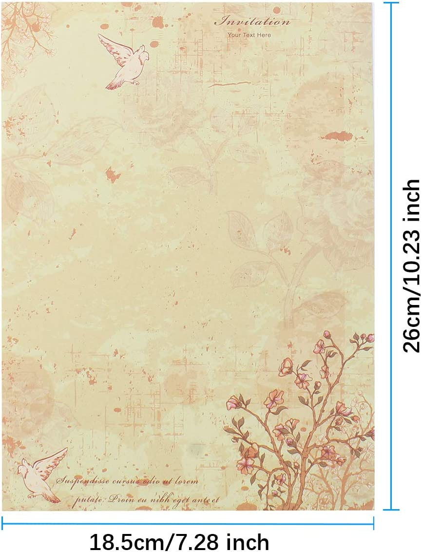 Assorted Flower Design Decorative Paper Pad SHANGXIN 60 pcs Stationery Paper//Letter Writing Paper Printable Kraft Paper 60 Sheets Writing Paper 26x18.5cm Letter Writing Paper Set