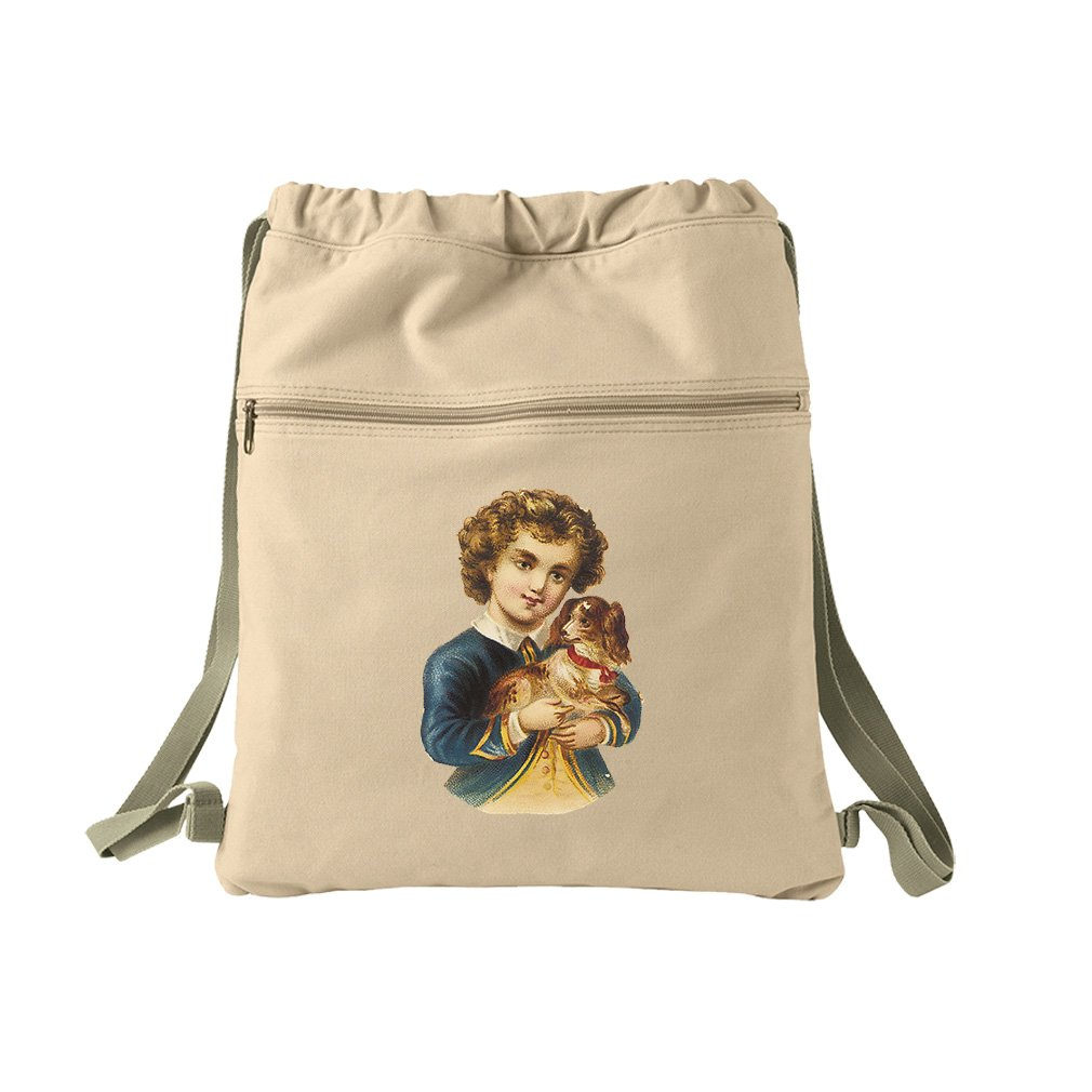 Boy In Navy Jacket With Puppy Animals Canvas Dyed Sack Backpack Bag
