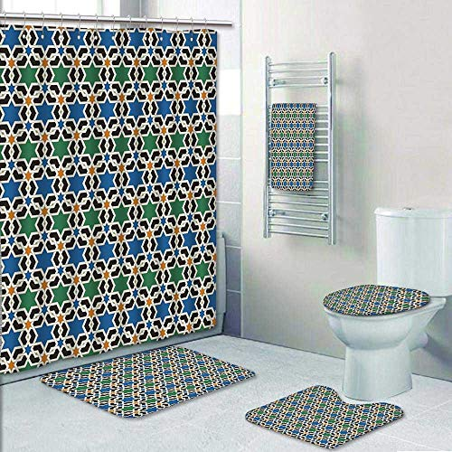 5 Piece Bath Rug Set,Geometric Hexagonal Pattern Stars Islamic Decorating Style Eastern Zellige Art Print Bathroom Rugs Shower Curtain/Rings and Both Towels by AmaPark