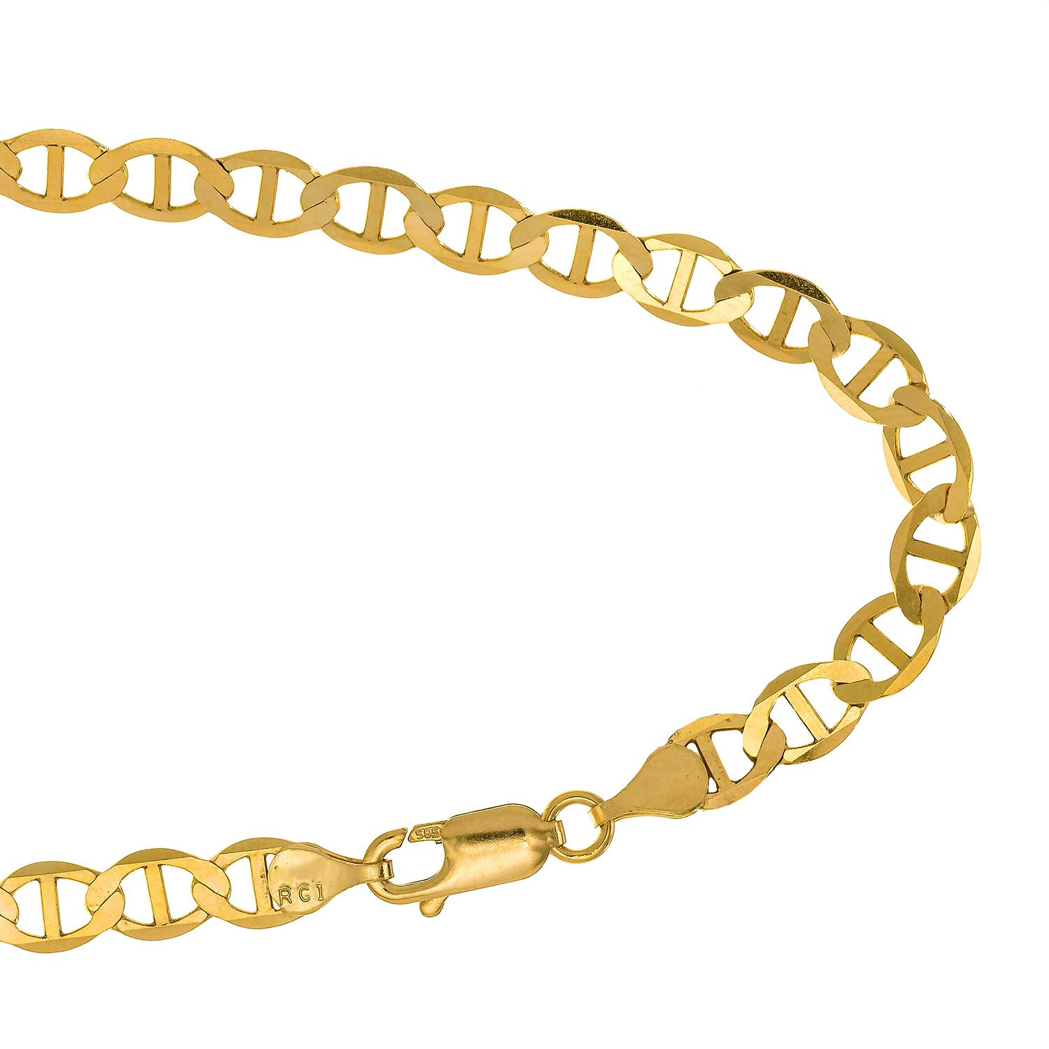 JewelStop 14k Solid Yellow Gold 3.2 mm Mariner Anklet, Lobster Claw Clasp, 2.6 gr - 10'' by JewelStop