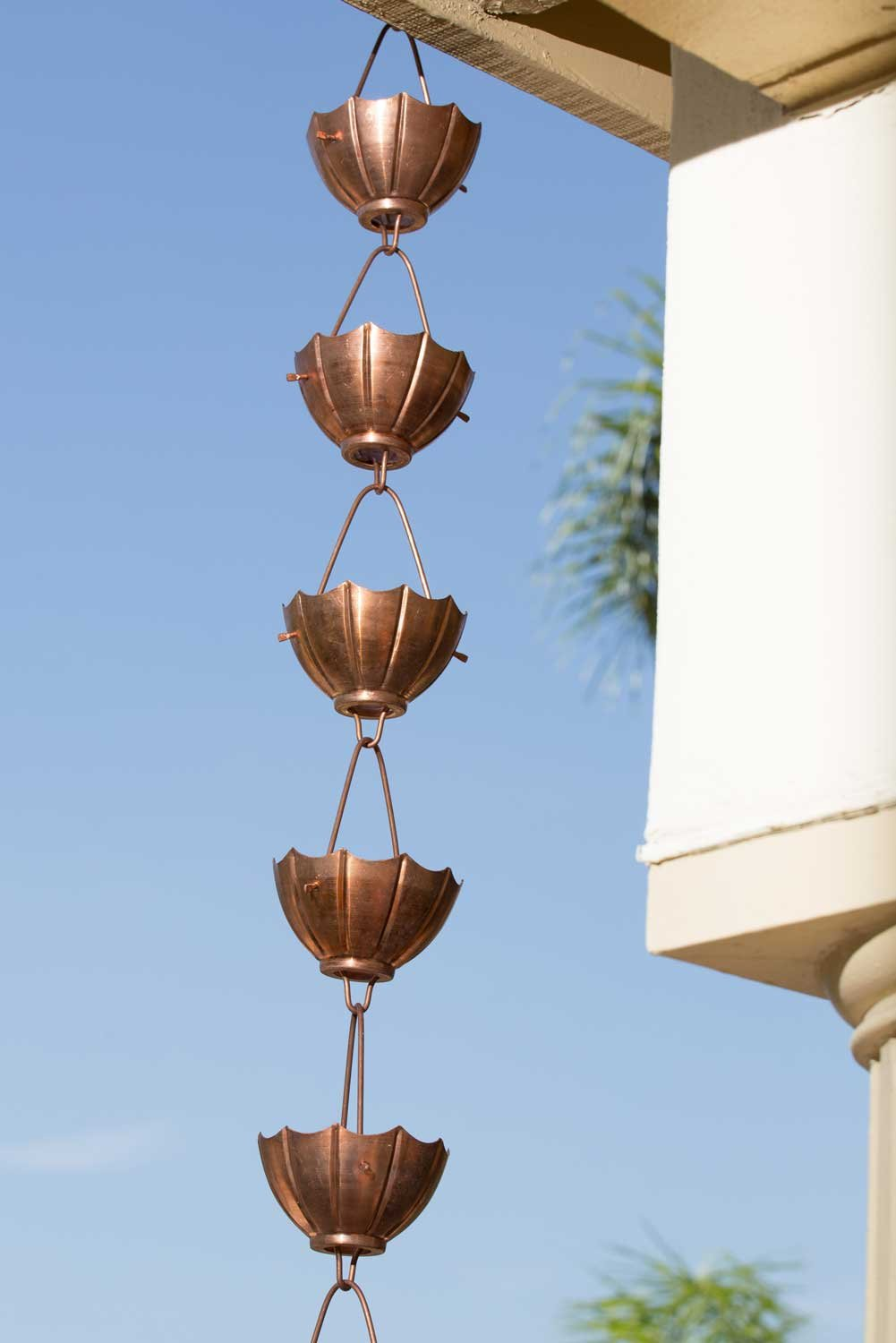 Monarch Pure Copper Umbrella Rain Chain, 8-1/2-Feet Length