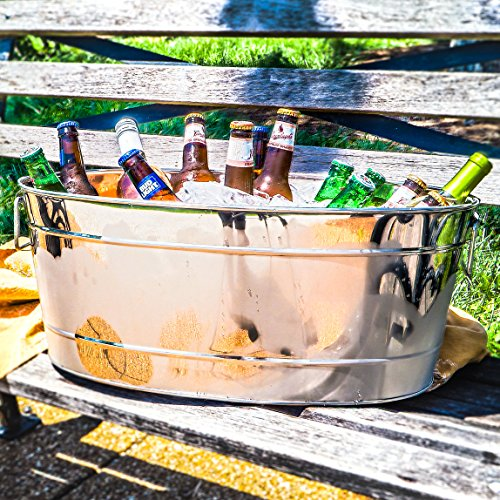 BREKX Heavy-Duty Stainless Steel Armored Enforced Beverage Tub - Silver. Large (Bucket Stainless Steel Beverage)