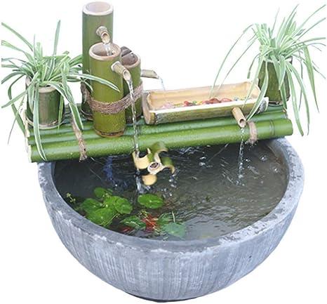 ZLBIN Fuente De Agua con CañA De Bambú,Solar Fuente Bomba ,Decorativas Interior Exterior para JardíN del Hogar Cascada,45CCM: Amazon.es: Hogar