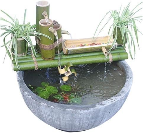 ZLBIN Fuente De Agua con CañA De Bambú,Solar Fuente Bomba ,Decorativas Interior Exterior para JardíN del Hogar Cascada,50CM: Amazon.es: Hogar