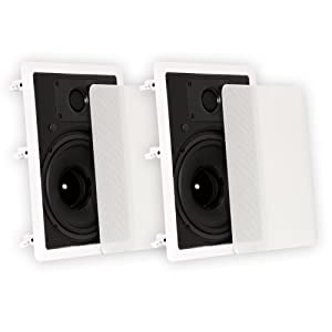 """Theater Solutions TS80W in Wall 8"""" Speakers Surround Sound Home Theater Pair"""