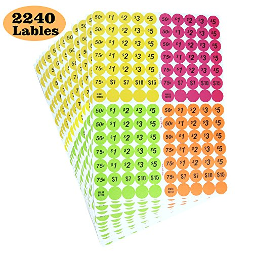 Garage Sale Price Stickers Pack of 2240 3/4