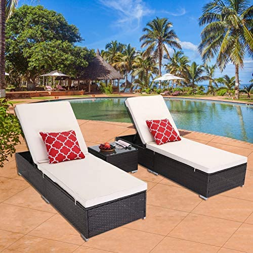 HTTH Outdoor Chaise Lounge, 3 Pieces Patio Chaise Lounges Chairs Set Adjustable Wicker Chaise Thick Comfy Cushion Wicker Lounge Chairs with Removable Cushion for Garden, Patio, Pool Beige