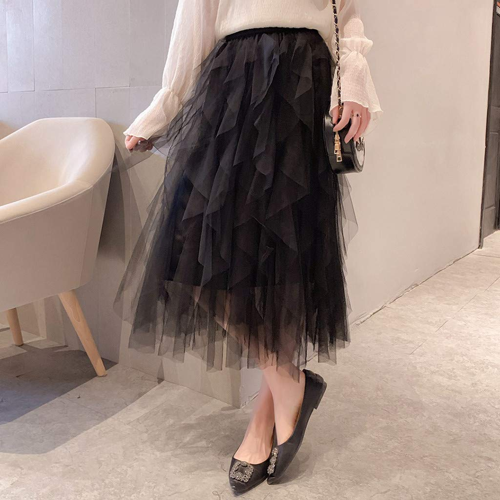 2019 Women A-Line Skirt Princess Long Skirt Tutu Tulle Petticoat Petticoat Basic Irregular Pleated Ball Gown Skirts (Black, Free Size) by Tanlo (Image #3)
