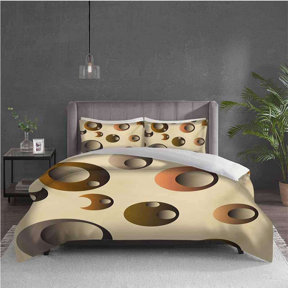 GUUVOR Retro 3-Pack (1 Duvet Cover and 2 Pillowcases) Bedding Funky Bubbles in Round Disc Shaped Model Circles Abstract Image Polyester (Queen) Cream Grey Caramel Pale Brown