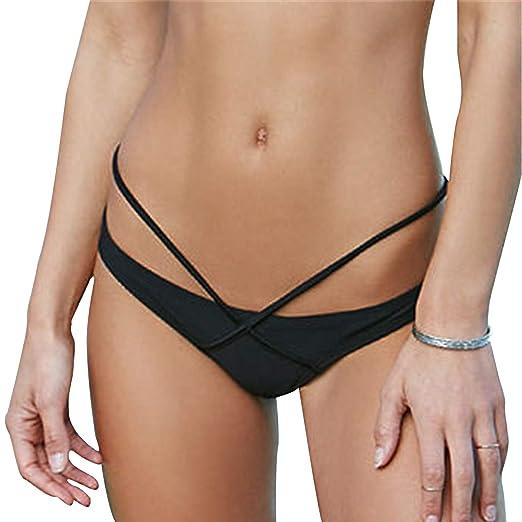 91a88d51647 YOFIT Women's Bikini Thong Bottom Brazilian Sexy Front Cross Strappy T Back  Cheeky Swimsuit Bottom Black