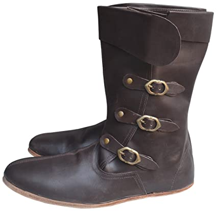 3ff55992ff Amazon.com : Medieval Leather Boots Long 3 Buckle Hobnail Leather ...