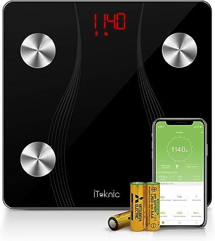 Amazon.com: iTeknic - Báscula de grasa corporal, Bluetooth ...
