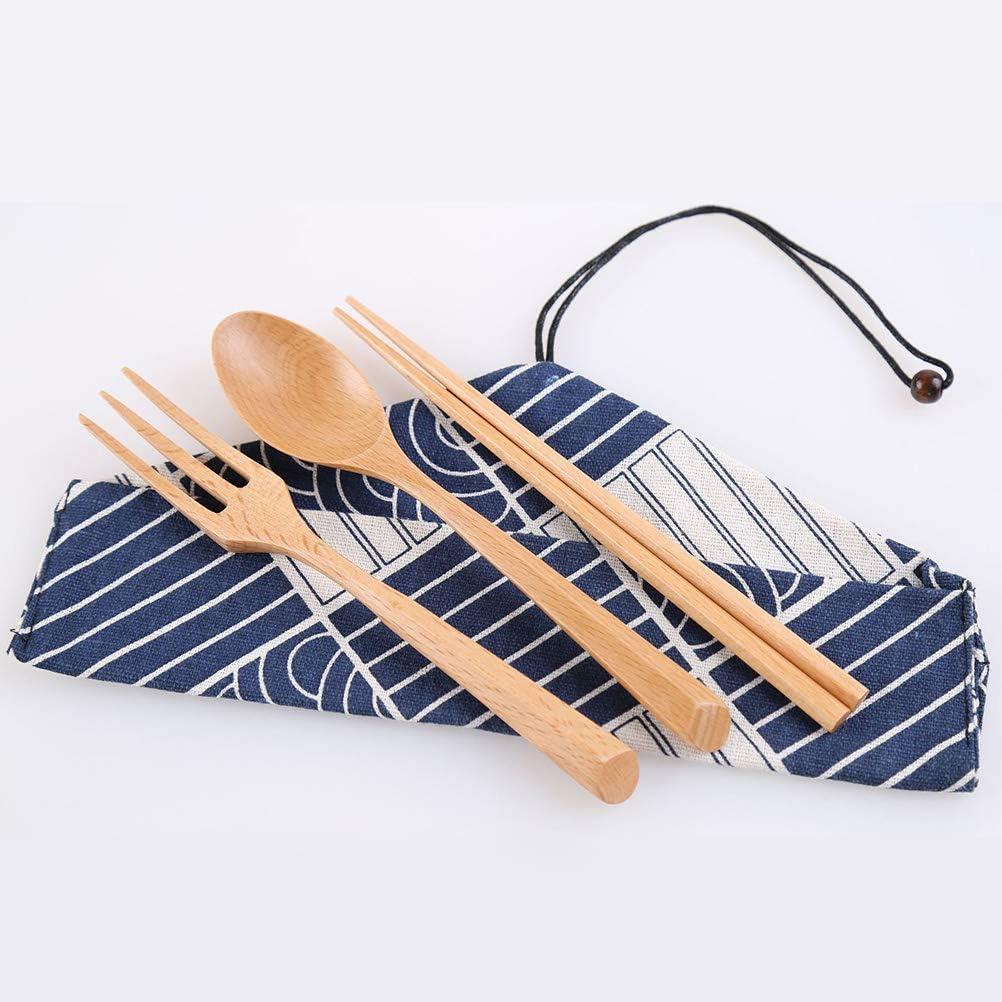 Posate da Tavolo in Legno Cucchiaio forchette Set da Viaggio con Sacchetto di Fiori Bacchette Portatile Faviye A
