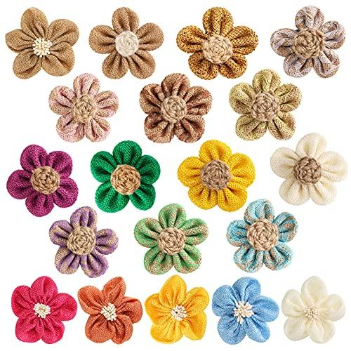 19 PCS Burlap Flowers Jute Flowers 4 Styles Natural Handmade Rustic Flower for Christmas Birthday Party Wedding Home Embellishment DIY Crafts