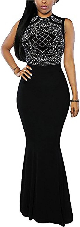 CoCo Fashion Damen Elegant Lang Meerjungfrauenkleid Abendkleid Maxikleid Cocktailkleid