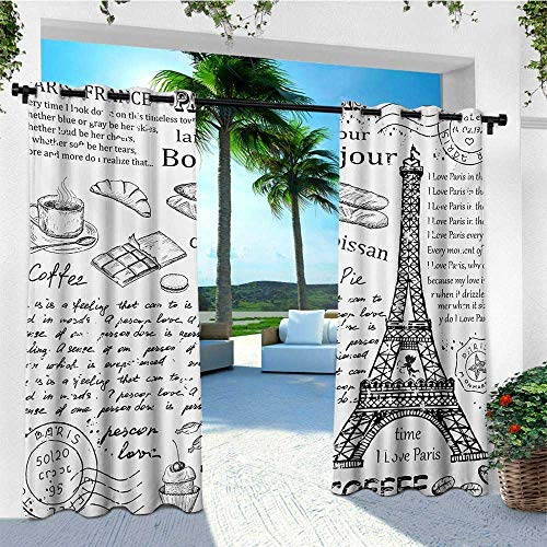 leinuoyi Paris, Outdoor Curtain Extra Wide, Traditional Famous Parisian Elements Bonjour Croissan Coffee Eiffel Tower Print, for Gazebo W120 x L96 Inch Black White ()
