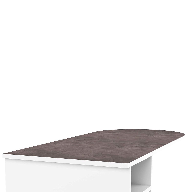 Bianco//Effetto cemento Symbiosis G/élas 115 x 50 x 101.2 cm Tavolo Bar Bianco