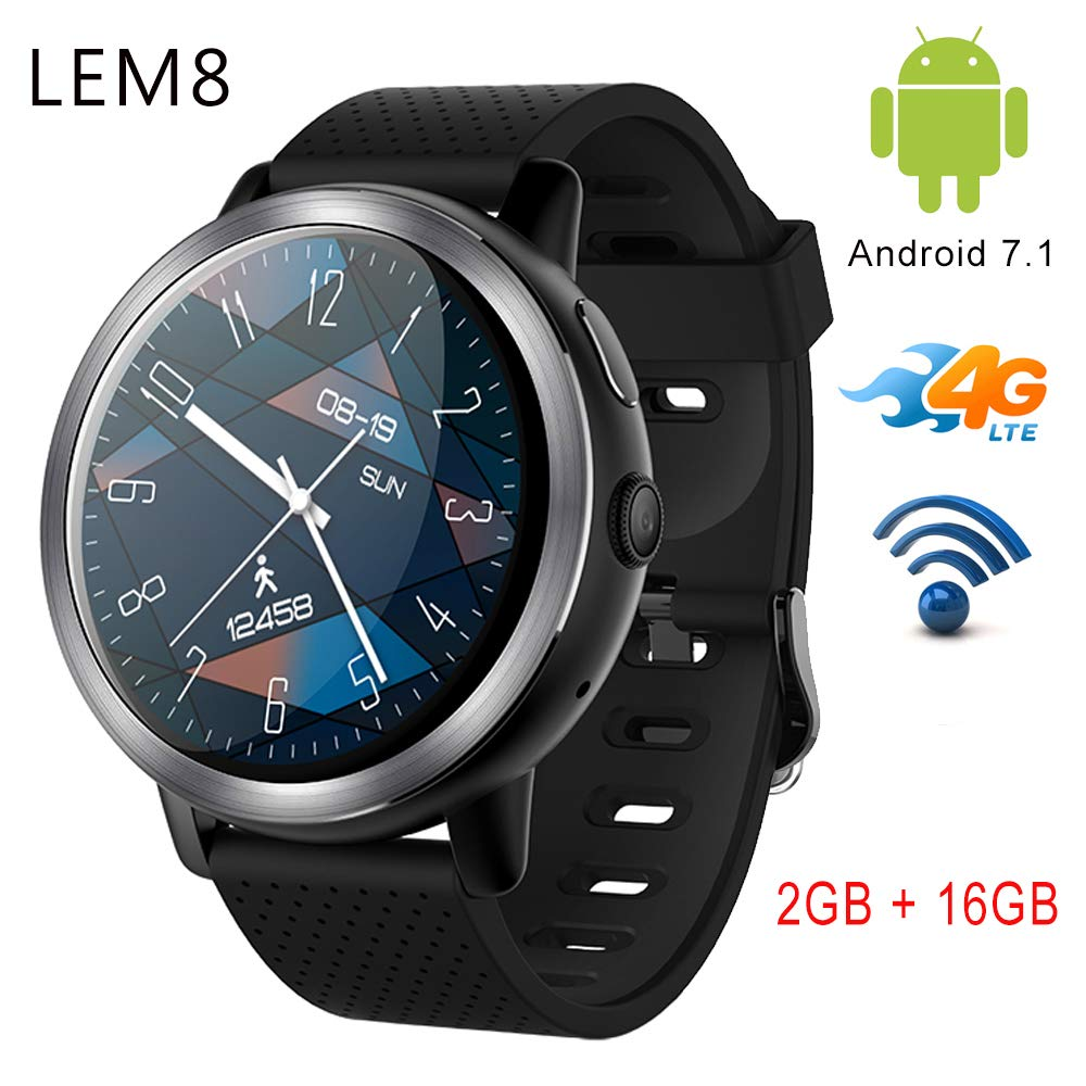Reloj Inteligente LEMFO LEM8 4G Android 7.1.1 2 GB + 16 GB con cámara GPS de 2 MP y Pantalla AMOLED de 1.39 Pulgadas, batería de 580 mAh, Reloj ...