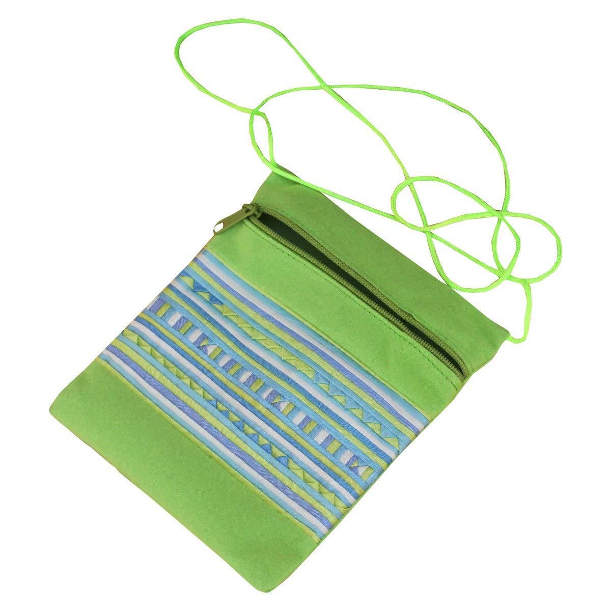 RaanPahMuang Small Lahu Green Travel Pouch FairTrade Textured Blue Green Pattern