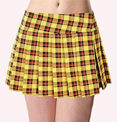 Yellow Schoolgirl Tartan Plaid Pleated Mini Skirt Unley