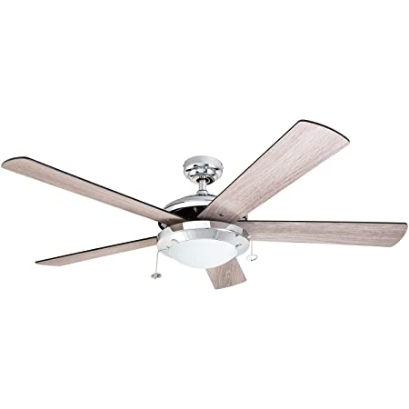 Prominence Home 80100-01 Bolivar Chrome Contemporary Rustic Ceiling Fan, 52 LED, Farmhouse Barnwood Blades,