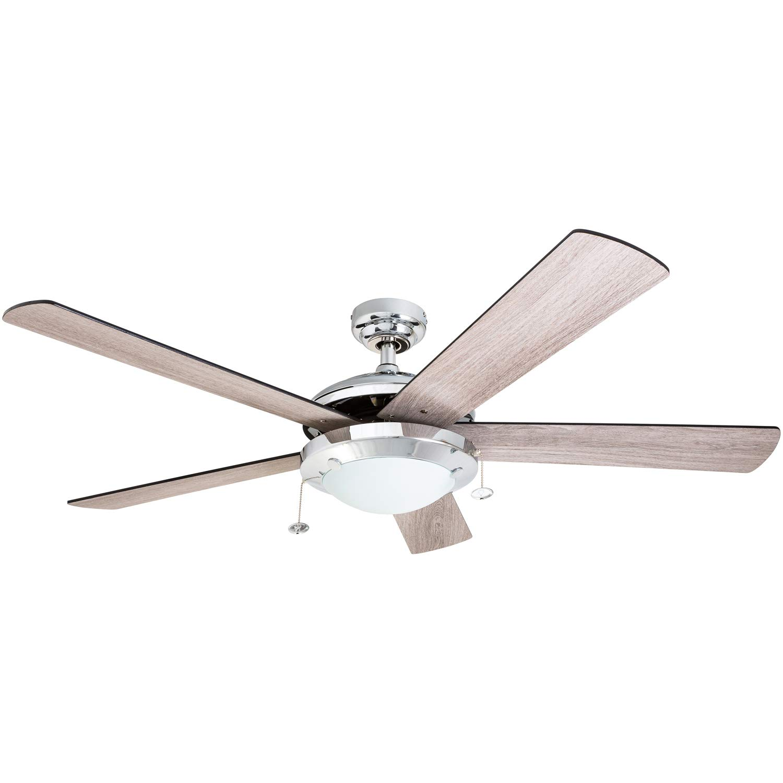 Prominence Home 80100-01 Bolivar Chrome Contemporary Rustic Ceiling Fan, 52'' LED, Farmhouse/Barnwood Blades,