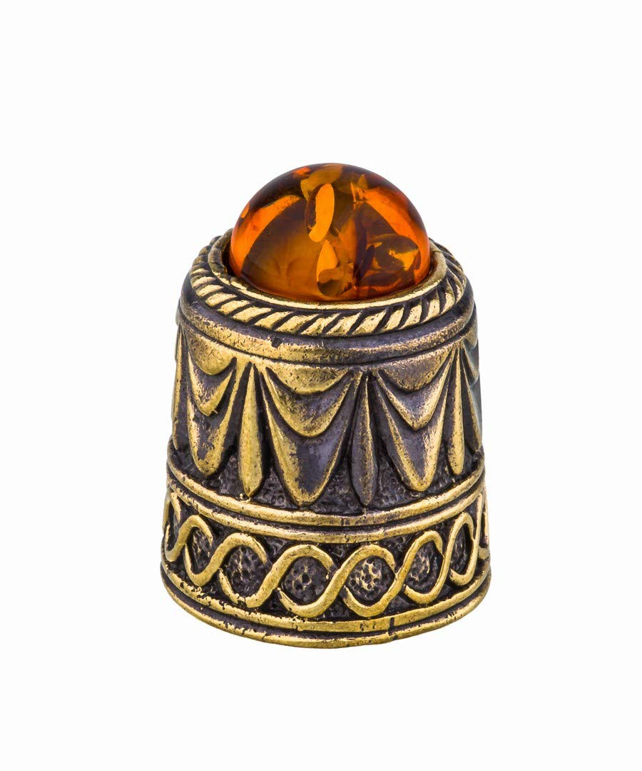 Amber and Brass Collectible Thimble (Theater Curtain) Decorative Souvenir Thimbles. Antique Designs from Kaliningrad, Russia.Packed in a Beautiful Siberian Birch Bark Gift Box(Random Selection) by Brass and Amber Art