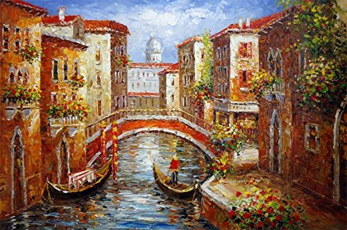 "Huge Oil painting cityscape of Venice with bridge over the canal canvas 24/""x36/"""