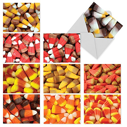10 Boxed 'Corny Candies' Assorted Halloween Note Cards (Size 4 x 5.12 inch) w/Envelopes - Featuring Images of Seasonal Delicious Candy Corn in Variety of Colors - Beautiful Assortment Box -