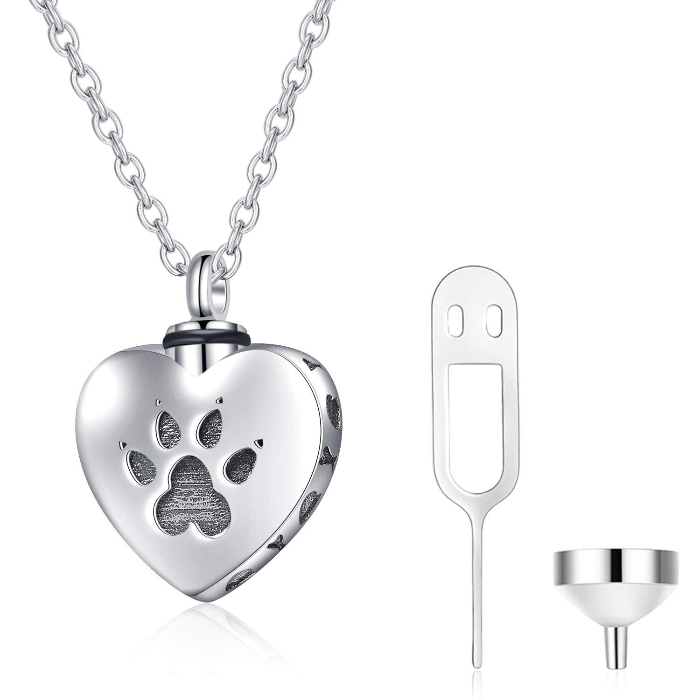 WINNICACA Pet Urn Keepsake Necklace Sterling Silver Heart Cremation Urn Necklaces for Ashes for Dog Cat Paw w/Funnel Filler Kit
