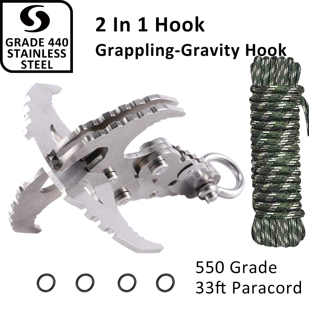 Mutifunctional Gravity Hook-Folding Grappling Hook,Stainless Survival Hook With Serrated Mechanical Claws For Outdoor Survival,Utilitarian Hiking Camping Climbing Tool