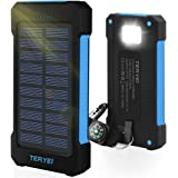 Solar Charger 15000mAh,Teryei Portable Solar Power Bank High Efficiency Solar Phone Charger with Solar Panel, Dual USB Cell Phone Battery Charger for iPhone,Samsung and Emergency Out (Blue)