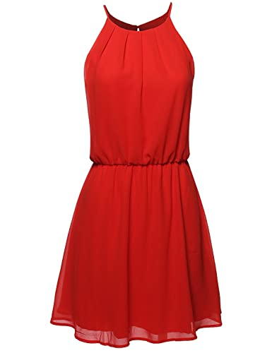 Awesome21 Women's High Neck Pleated Dress w/ Waistband