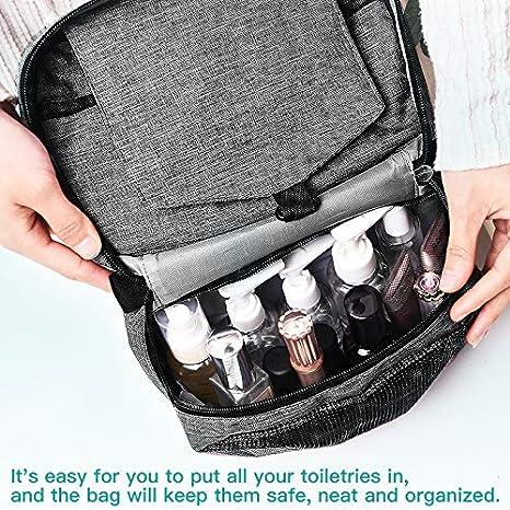 Trousse de Toilette de Voyage /à Suspendre Gris Trousse de Toilette pour Homme et Femme Sac de Maquillage Portable /étanche pour Trousse de Maquillage Pliable