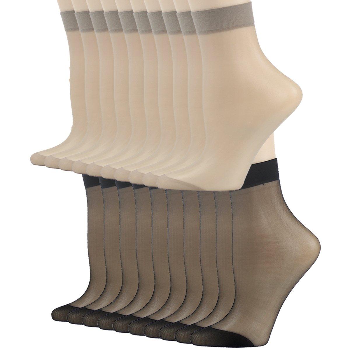 Tight Socks, INCHER Women's Nylon Socks Gift Office Business Ankle High Stockings Ankles For Women Hosiery Silk Short Socks Casual Ankle Sheer Socks 20 Pairs