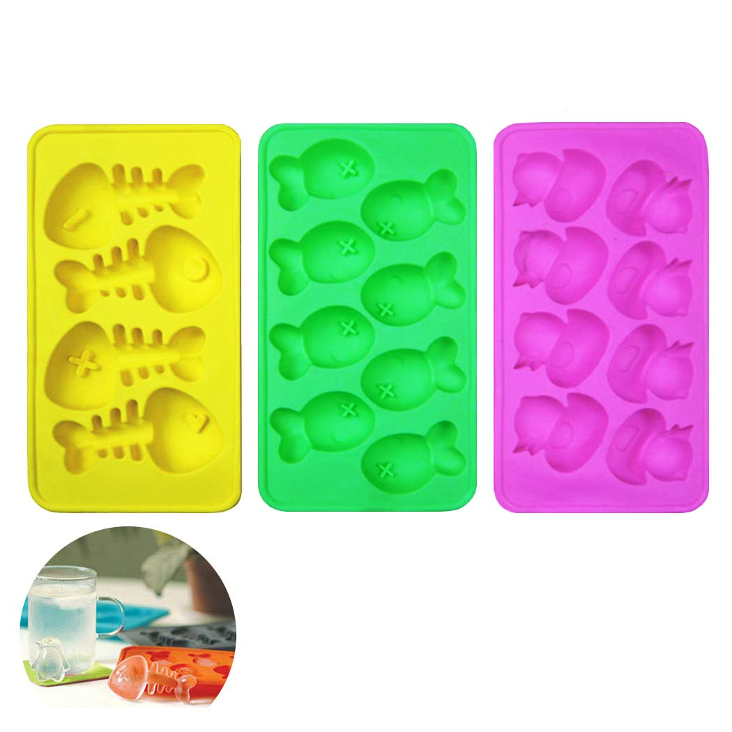 Cute Animal Ice Cube Trays 3 Pack - Easy Release Ice Molds Trays/Diy Chocolate Mold - Ice Tray Lattice Silicone Ice Cube Tray Set Candy Mold Cake Mold with Duckling Small Fish and Fish Bones