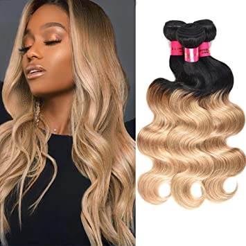 Amazon Com Xccoco Ombre Blonde Body Wave Human Hair Weaves
