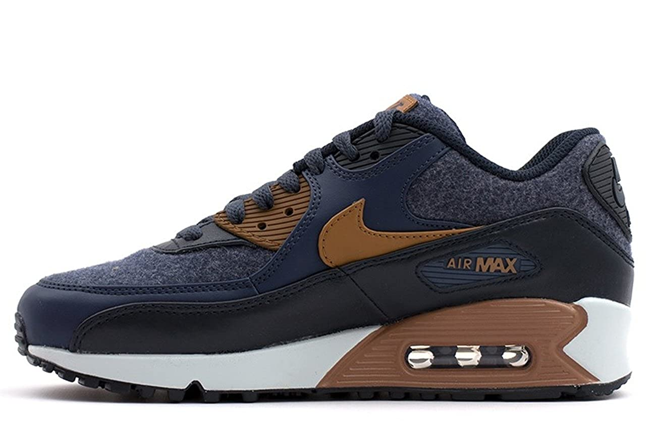 Nike Mens Air Max 90 Premium Wool Pack Shoes Thunder BlueAle BrownObsidian 700155 404 Size 11
