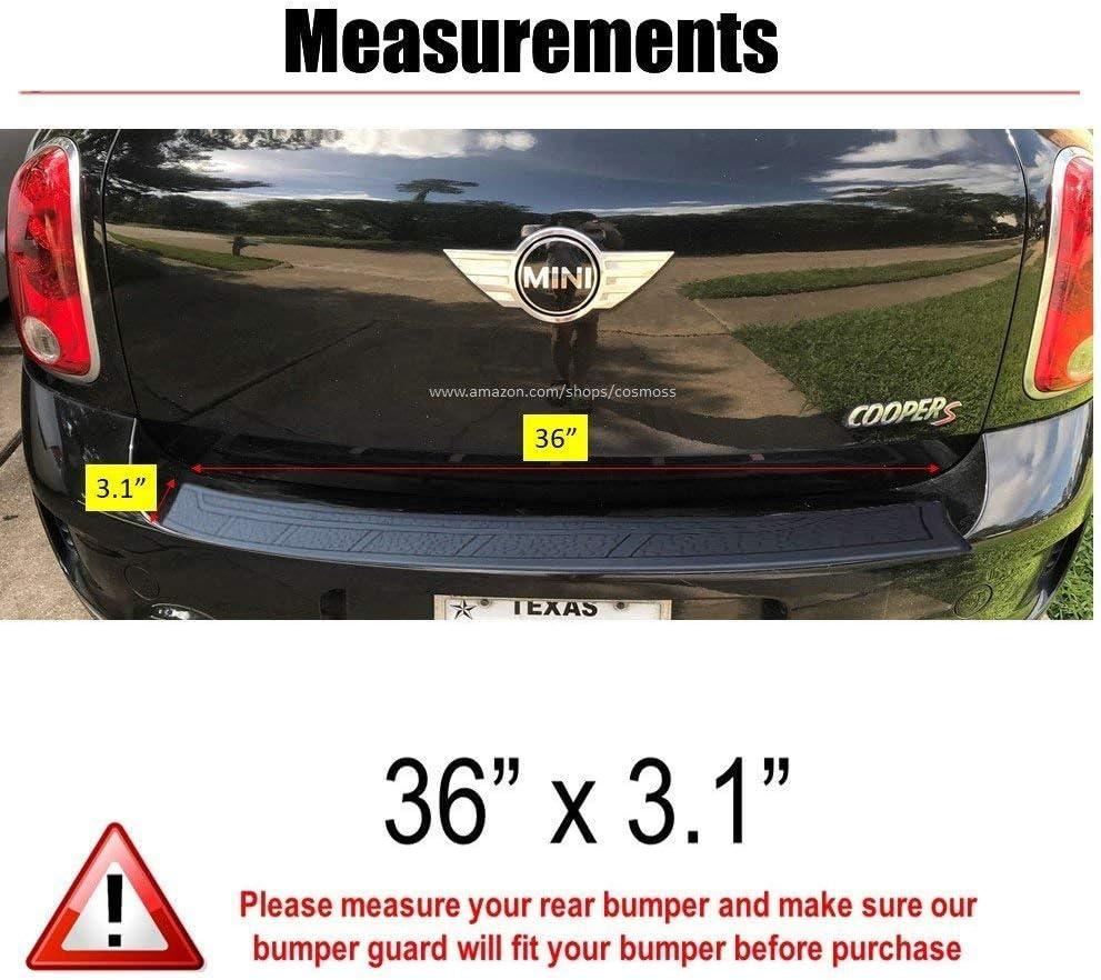 """41/"""" x 3.5/"""" Black Rear Bumper Rubber Guard Cover Sill Plate Protector For Mini"""
