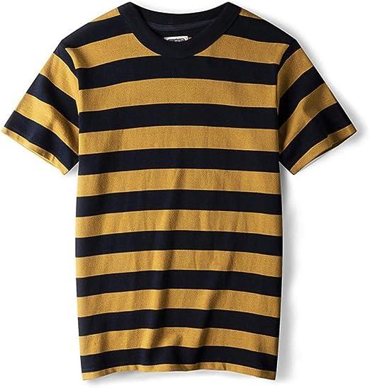AFCITY Camiseta para Hombre Nueva Camiseta Retro de Rayas de Navi for Hombre Camiseta de Manga Corta con Cuello Redondo de algodón Peinado (Color : C1, tamaño : XL): Amazon.es: Hogar