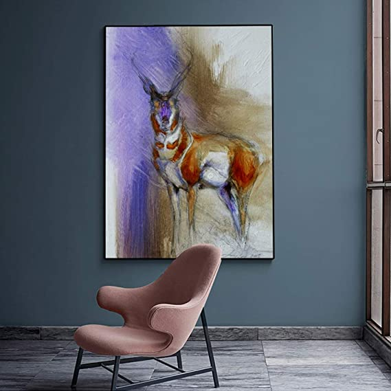 RTCKF Arte Moderno Lienzo Acuarela Animal póster Color Ciervo ...