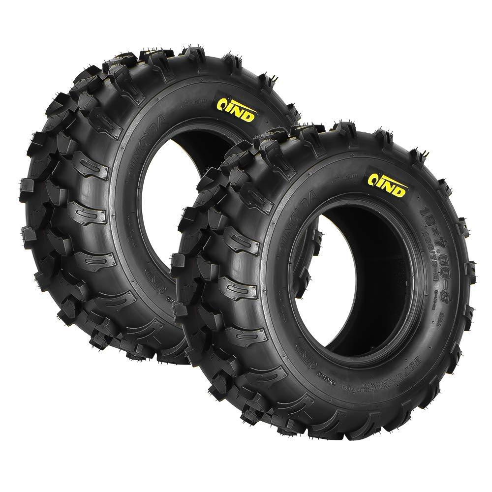 Qind Set of 4 Tires All-Terrain Tyre 18x7-8, 4-PR, ATV/UTV Load B Tubeless