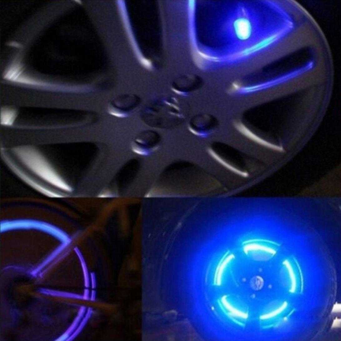 Zubeh/ör f/ür Auto Motorrad Switchali LED-Ventilkappen neonblau blinkende Reifenventilkappen Fahrrad