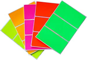 Color Code Labels in 5 Assorted Neon Colors 4 x 2 Stickers (102 mm x 51 mm) - 30 Pack by Royal Green