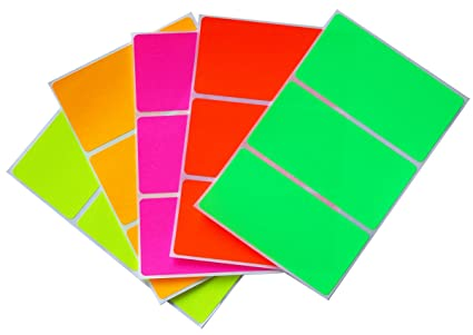 amazon com moving sticker color code labels in 5 assorted neon
