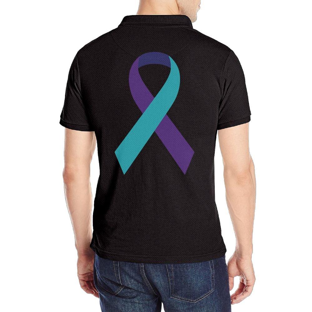 KH5GJ-25 Mens Suicide Prevention Awareness Ribbon Short Sleeves Polo Tee Shirt