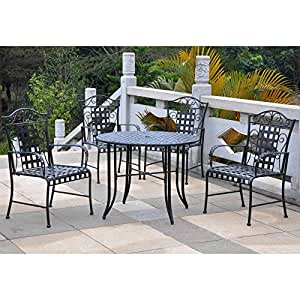 International Caravan Mandalay 5-Piece Outdoor Dining Set in Antique Black