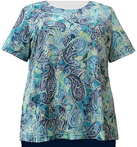 A Personal Touch Women's Plus Size Teal Paisley Tee